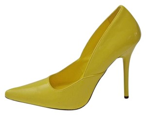 Pleaser Milan 01 Patent Stiletto Heels Size 8 Yellow Pumps