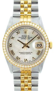 Rolex Rolex Men's DateJust Two-Tone White Mop Diamond Bezel Watch 16013