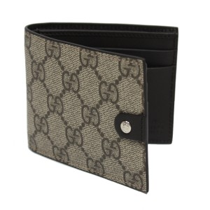 Gucci GUCCI Men's Supreme Canvas Leather GG Bi Fold Wallet 281968