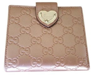 Gucci Gucci Pink Guccissima Wallet with Heart Clasp