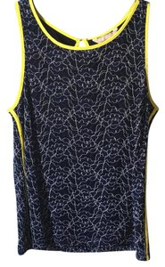 Banana Republic Lace Sleeveless Blouse Top Navy blue and neon yellow