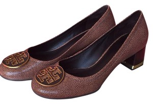 Tory Burch Block Heel Leather Brown Pumps