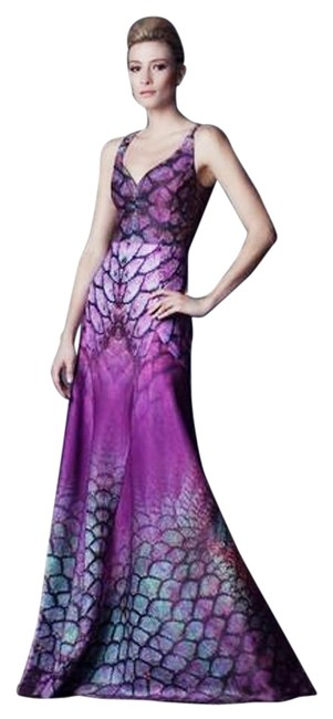 """Item - Multi Color Wine/Burgundy/ Purple Gown """"Dragon Print"""" Gown Wedding Prom Long Formal Dress Size 8 (M)"""