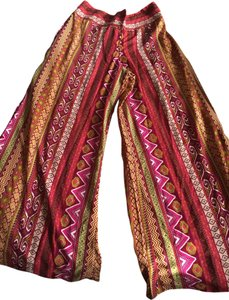 Earthbound Trading Co Hippie Festival Summer Colorful Super Flare Pants Pink