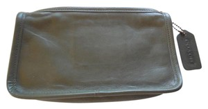 Coach Leather Logo Vintage Olive Clutch