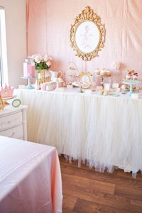 Tulle You Choose Table Skirt (Available In Multiple Sizes and Colors) Event Party Bridal Shower Baby Tablecloth