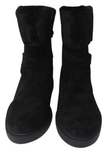 Ivanka Trump Zip Up Suede Faux Fur black Boots