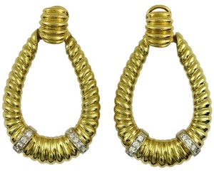 Large Diamond Gold Door Knocker Earrings