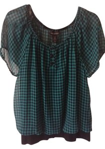 Lane Bryant Casual Transitional Plus-size Top Green/Black Gingham