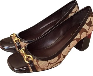 Coach Monogram Block Heel Brown Pumps