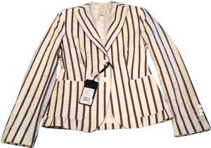 Les Copains Silk Cotton Stripe White & Silver Blazer