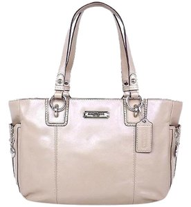 Coach Beige Tan Leather Tote in Putty