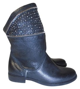 Sheridan Mia Ankle Leather Made In Italy Sparkles Zippers black Boots