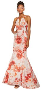 Adrianna Papell Mermaid Floral Halter Train Dress