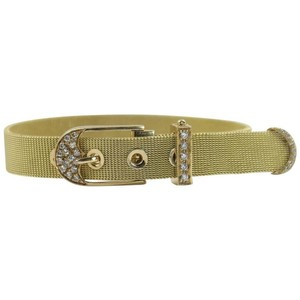Italian Diamond Gold Mesh Buckle Bracelet