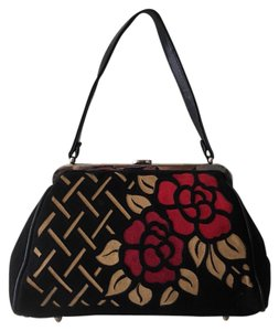 Isabella Fiore Pocketbook Rosebuds Made In Italy Satchel in Black