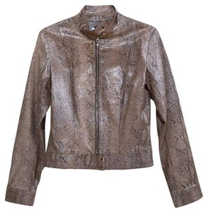 Hugo Buscati Brown, blk & caramel on warm tan Leather Jacket