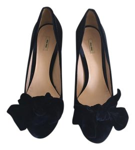 Miu Miu Velvet navy blue Wedges