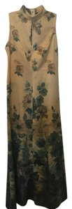 Floral beidge and green Maxi Dress by Other Coctail Back Zip Long Sleeveless Pretty
