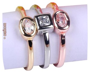 New 3pc Tri Color Stackable 925 Ring Set