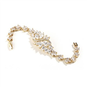 Brilliant Marquis Crystals Gold Bridal Bracelet