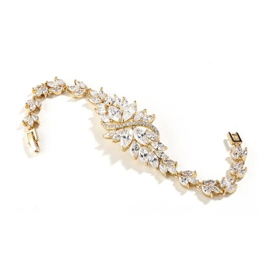 Gold Brilliant Marquis Crystals Bracelet