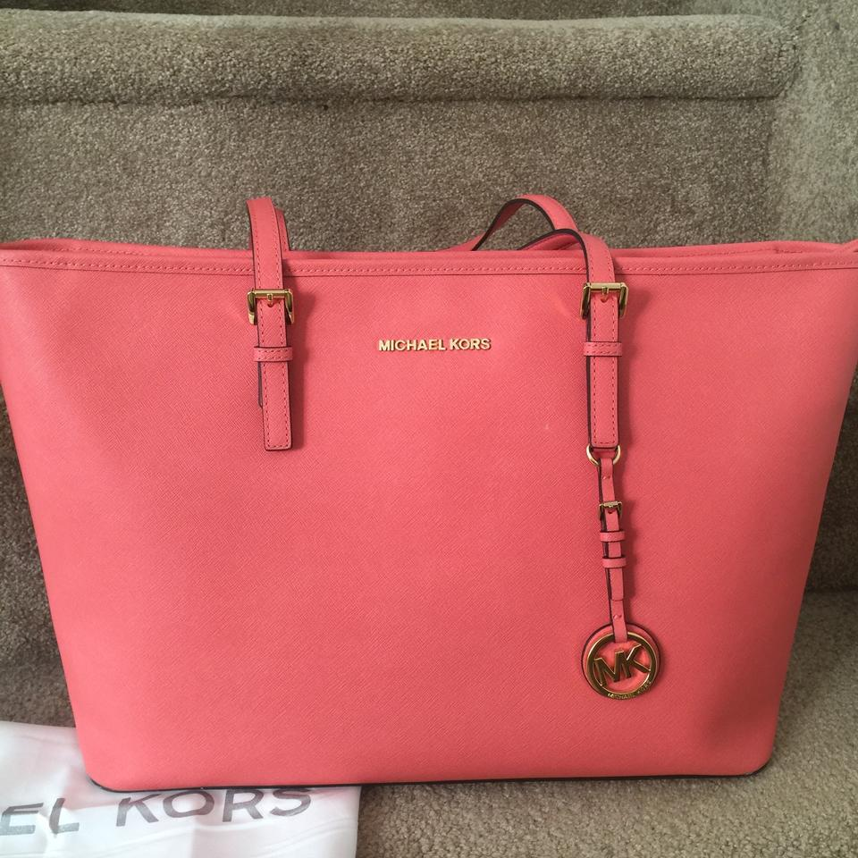 50d0bbdaa517 MICHAEL Michael Kors Multi Functional Pink Grapefruit Saffiano Leather Tote  - Tradesy