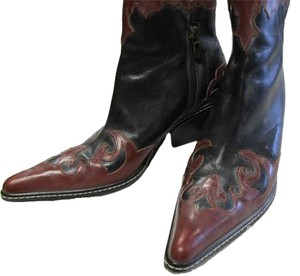 Donald J. Pliner Leather Western Red/Black Boots