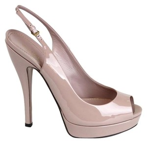 Gucci Patent Leather Sling-back Platform 310083 Pink Pumps