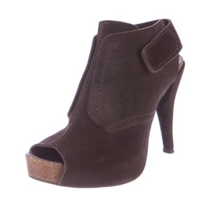 Pedro Garcia Suede Ankle Bootie Peep Toe Chocolate Brown Boots