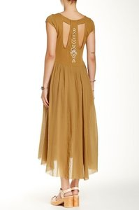 Brown Sugar Maxi Dress by Free People Cap Sleeve High Low Hem Cotton Embroidered