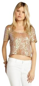 BCBGMAXAZRIA Sequin Embellished Holiday Top NUDE