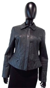 Worth Collar Quilted Leather Gray Leather Jacket