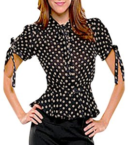 MILLY Polka Dot Peplum V-neck Tie Button-down Top Black & Cream