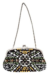 Bloomingdale's Studded Beaded Black Colorful Clutch