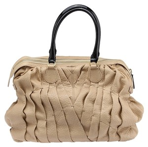 Valentino Leather Pleated Tote in Beige