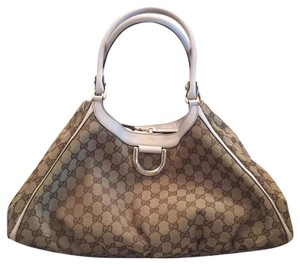 32637f10ea338c Added to Shopping Bag. Gucci Hobo Guccissima Monogram Tote in cream and  Brown. Gucci Hobo Bag Large D Ring ...