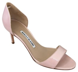Manolo Blahnik Leather Pump Pink Patent Pumps