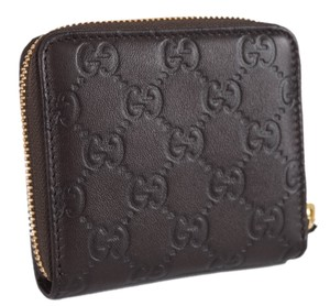 Gucci Gucci Women's 346056 Brown Leather GG Guccissima Zip Around Wallet