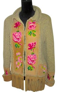 Dior Boho Tan Suede w/ Multi-Color Tapestry Jacket