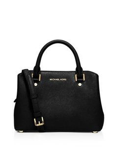 Michael Kors Crossbody Leather Satchel in Black