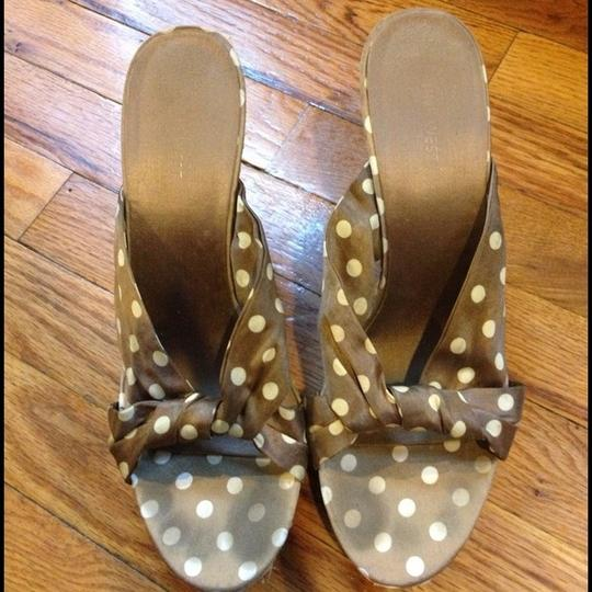 Nine West Wedges Summer Polka Dot Gold beige Sandals