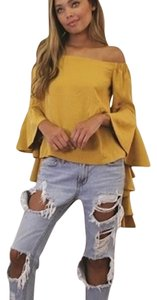 Off Shoulder Top Mustard