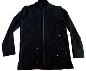 Other Rhinestones Cotton Zip Up Xs Black Jacket