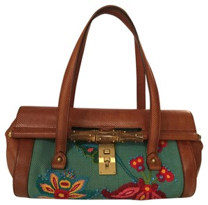 Gucci Leather Turquoise Floral Baguette