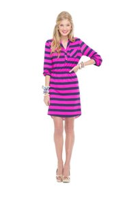 Lilly Pulitzer short dress Navy & Pink Lilly Stripes Polka Dots on Tradesy