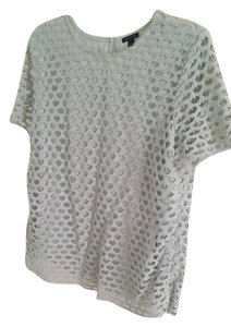 Ann Taylor Lace Cream Beige Ivory Top pale mint green