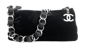 Chanel Velvet Satin Silver Shoulder Bag