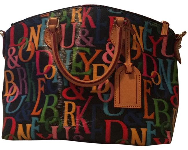 Item - Black W/ Multi Color Letters Leather Tote