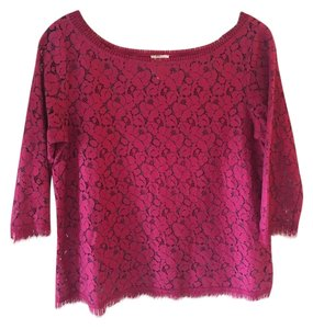 Weston Wear Fringed Lace Layer Top Raspberry
